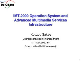 IMT-2000 Operation System and Advanced Multimedia Services Infrastructure