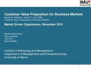 Customer Value Proposition for Business Markets  based on: Anderson, James C. et al, 2006,