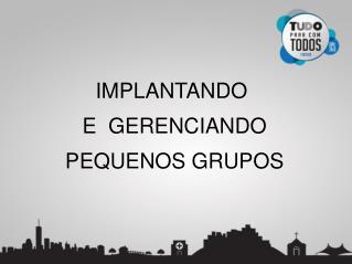 IMPLANTANDO  E  GERENCIANDO PEQUENOS GRUPOS