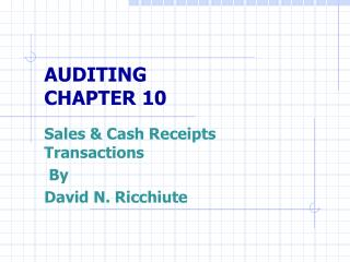 AUDITING CHAPTER 10