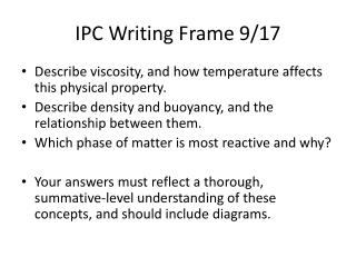 IPC Writing Frame 9/17