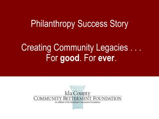Philanthropy Success Story