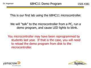 68HC11 Demo Program