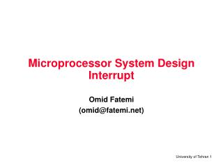 Microprocessor System Design Interrupt