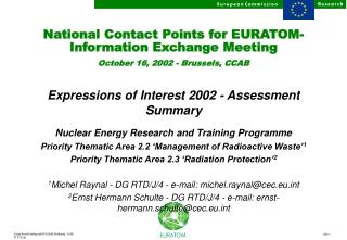 National Contact Points for EURATOM-Information Exchange Meeting October 16, 2002 - Brussels, CCAB
