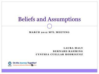 Beliefs and Assumptions