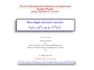 The 5-th International Conference on Quarks and Nuclear Physics  Beijing , September 21-26, 2009