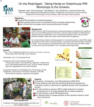 On the Road Again:  Taking Hands-on Greenhouse IPM Workshops to the Growers