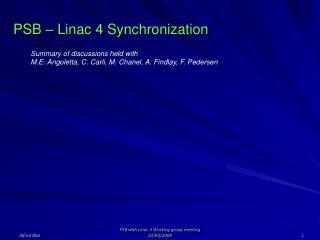 PSB – Linac 4 Synchronization