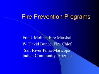Fire Prevention Programs