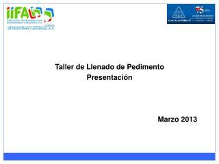 Taller de Llenado de Pedimento Presentación Marzo 2013