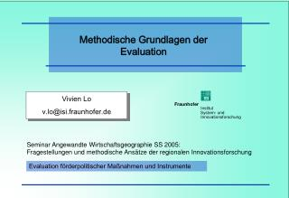 Methodische Grundlagen der Evaluation