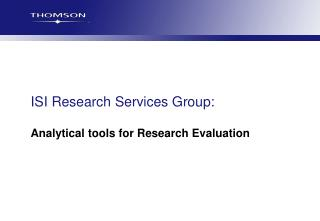 ISI Research Services Group: