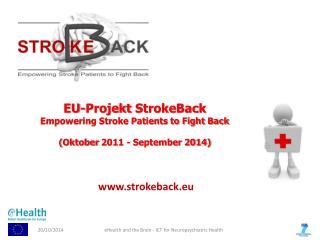 EU- Projekt  StrokeBack Empowering Stroke Patients to Fight Back ( Oktober  2011 - September 2014)