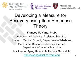 Developing a Measure for Recovery using Item Response Theory