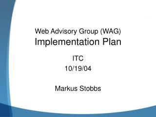 Web Advisory Group (WAG)  Implementation Plan