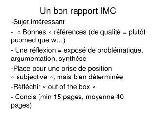 Un bon rapport IMC