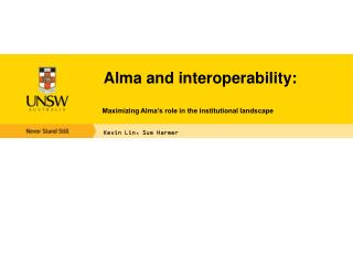 Alma and interoperability :