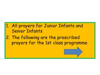 All prayers for Junior Infants and Senior Infants