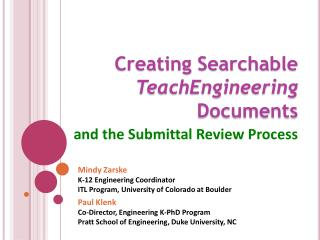 Creating Searchable   TeachEngineering  Documents