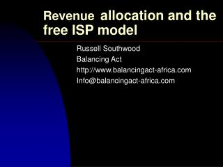 Revenue allocation and the free ISP model