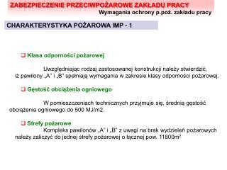 CHARAKTERYSTYKA POŻAROWA IMP - 1