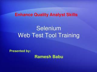 Selenium Web Test Tool Training