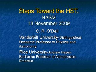 Steps Toward the HST. NASM 18 November 2009
