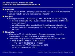 Int�r�t de la mesure de l�activit� TPMT  au cours du traitement par azathioprine et 6-MP