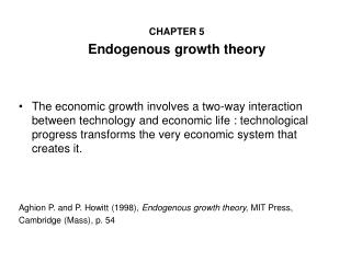 CHAPTER 5 Endogenous growth theory