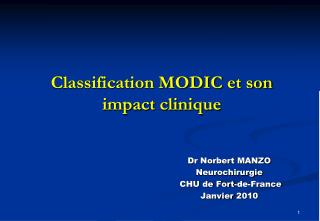 Classification MODIC et son impact clinique