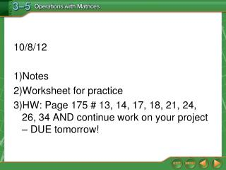 10/8/12  Notes Worksheet for practice
