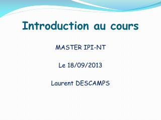 Introduction au cours