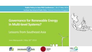 Governance for Renewable Energy in Multi-level  Systems? Lessons  from Southeast  Asia