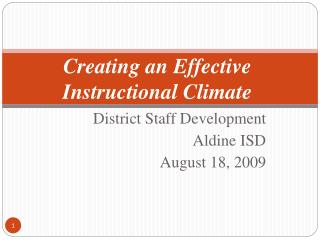 Creating an Effective Instructional Climate