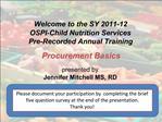 SY 2011-12 OSPI FFVP Annual Training