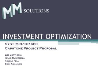 INVESTMENT OPTIMIZATION