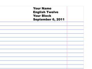 Your Name English Twelve Your Block September 6, 2011