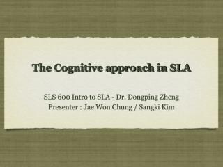 The Cognitive approach in SLA