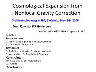 Cosmological Expansion from Nonlocal Gravity Correction