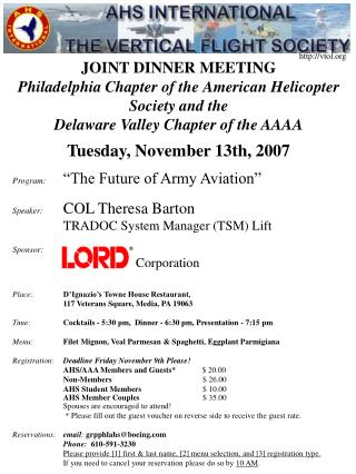 JOINT DINNER MEETING Philadelphia Chapter of the American Helicopter Society and the