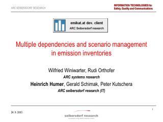 Multiple dependencies and scenario management  in emission inventories