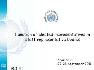 Function of elected representatives in staff representative bodies