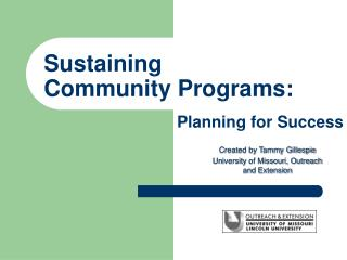 Sustaining Community Programs: