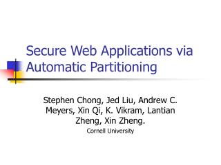 Secure Web Applications via Automatic Partitioning