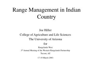 Range Management in Indian Country