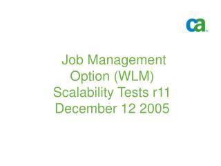 Job Management Option (WLM) Scalability Tests r11 December 12 2005