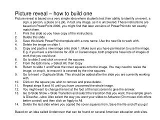 Picture reveal – how to build one