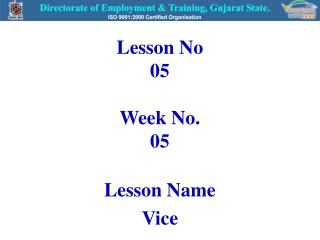 Lesson No 05 Week No. 05