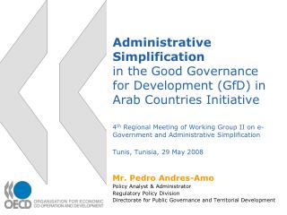 Mr. Pedro Andres-Amo Policy Analyst & Administrator Regulatory Policy Division